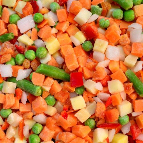 frozen vegetable cubes mix food texture background