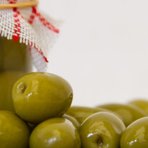 artisanal preparation of healthy pickles of green olives